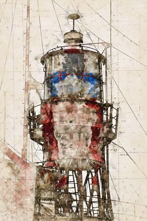 Digital artistic Sketch of a Lightship, based on own Photography, Property Release not required.