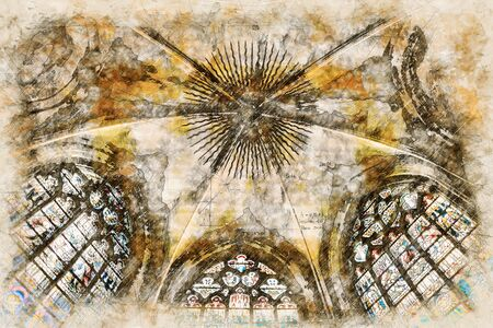 Digital artistic Sketch of a Cathedral, based on own Photography, Property Release not required. Фото со стока