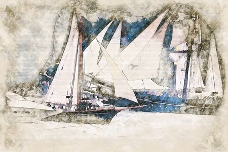 Digital artistic Sketch of Sailing Ships, based on own Photography, Property Release not required. 版權商用圖片