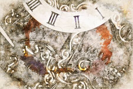 Digital artistic Sketch of a Clockwork, based on own Photography, Property Release not required. Zdjęcie Seryjne