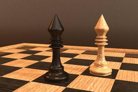 Digital 3D Illustration of a Chess Board