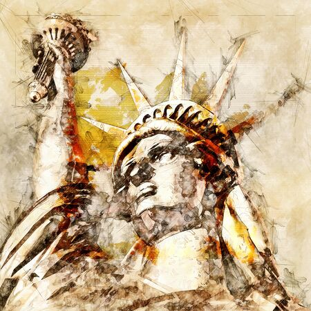 Digital Sketch of the Statue of Liberty