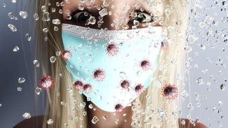 Artistic 3D illustration of corona aerosol Фото со стока