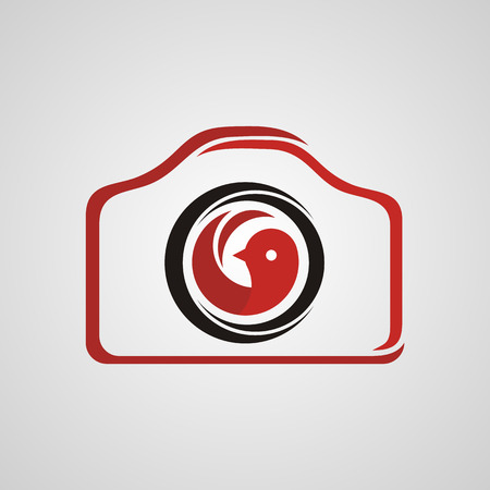 photography logo with red bird icon in the middle