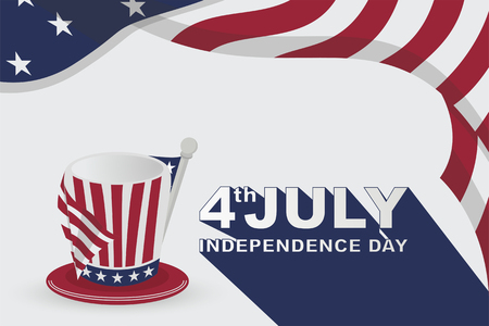 american happy independence day background with flag and hat, for greeting card, wallpaper design