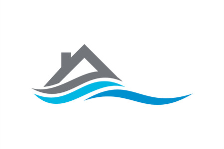 Real estate logo template with wave.