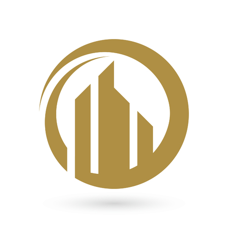 stylized banking: Real estate logo template, great city look. Illustration