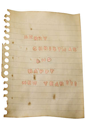 Merry Christmas and Happy New Year wish on aged paper and shiny letters photo