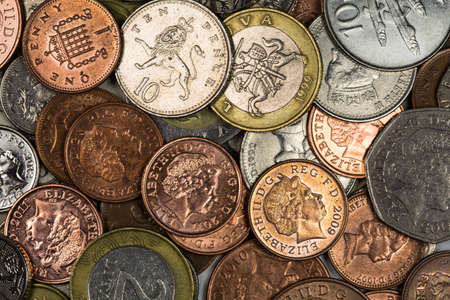 gbp: Various coins background