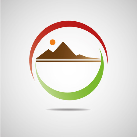 mountain the sun set Vector