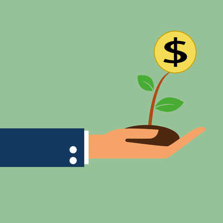 attend: money growth in hand Illustration