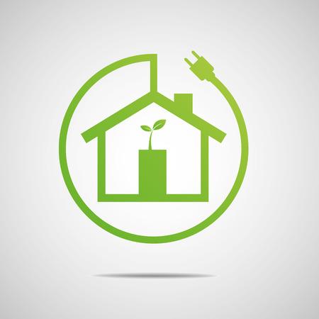 eficiencia energetica: Eco House Inmobiliaria dise�o del icono del vector