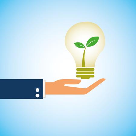 Green ecology bulb on hand, vector icon  Illusztráció
