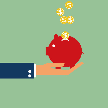 Hand holding piggy bank vector icon  Ilustrace