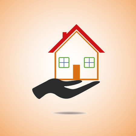 Hand on home icon  Vector