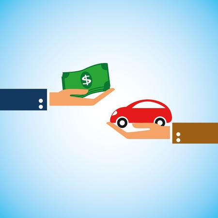 l'argent du dollar et la forme de la voiture dans la main Vecteurs