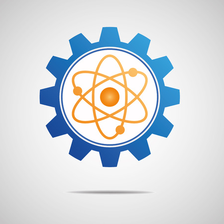 industrial icon: Gear on atom  Industrial icon