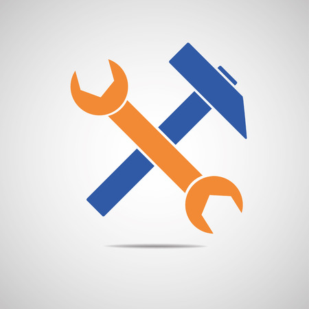 turn screw: Wrench and Hammer Industrial Tool icon