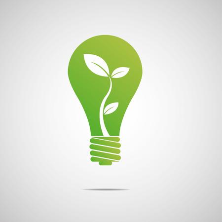 緑の電球エコ  イラスト・ベクター素材