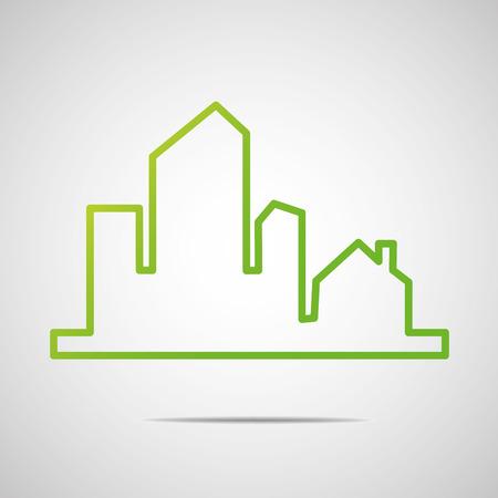 icone immobilier: Ic�ne Eco City Real Estate Illustration