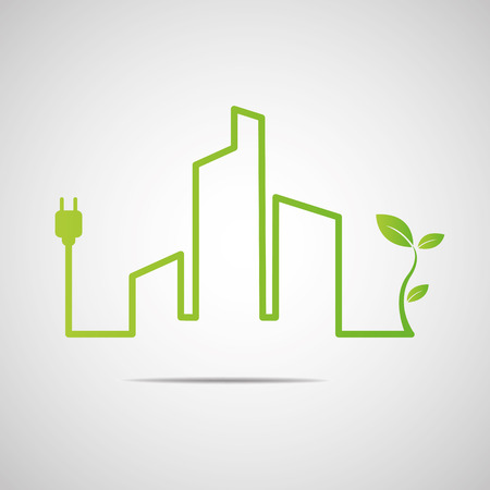 sustainable energy: Eco City Real Estate icon Illustration