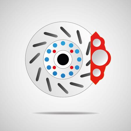 brake pad: Front disk brake on car in process Car  system