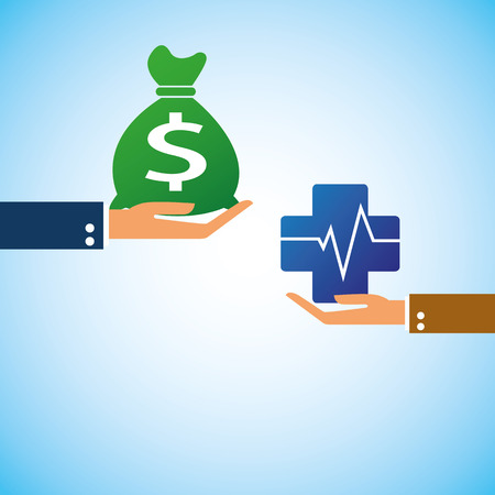 hand bring money pharmacy Heartbeat Vector