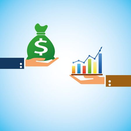 hand bring money graph up Vector