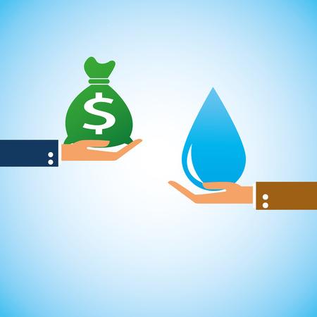 hand bring money water