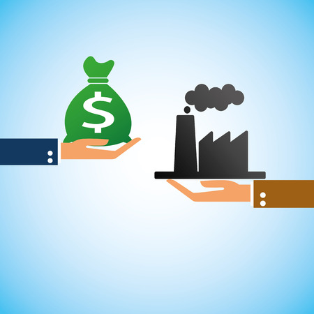 hand bring money industrial Vector