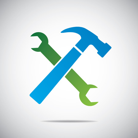 adjustable: Wrench and hammer  Tools icon