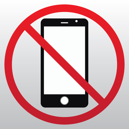 No cell phone sign on white background