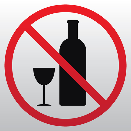 No alcohol sign illustration on light background.