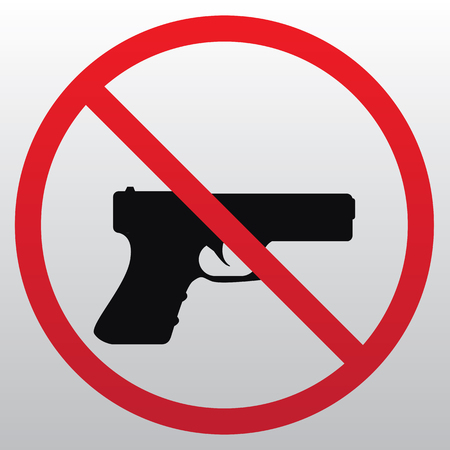 Prohibition sign for gun illustration on light background.  イラスト・ベクター素材
