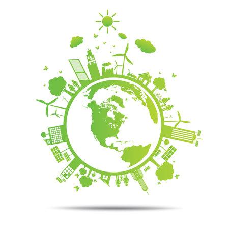 planeta verde: Mundo verde ecología Ciudad ecológico.