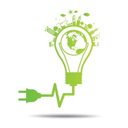 environmental: power green concept bulb ecology City environmentally friendly  .