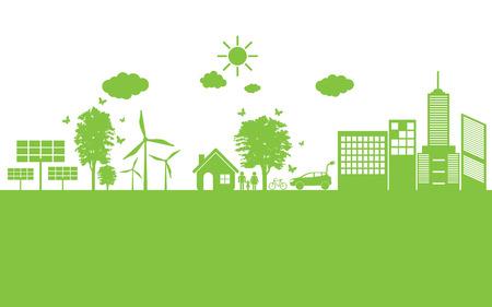 energías renovables: Mundo verde ecología Ciudad ecológico.