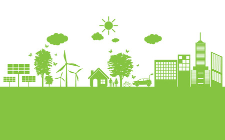 ecology icons: world Green ecology City environmentally friendly .