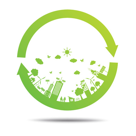 home icon: Green ecology City environmentally friendly .