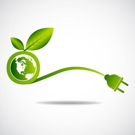 Ecology green save  earth concept Illusztráció