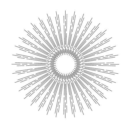 light rays: Linear drawing of rays of the sun. Light rays of burst. Illustration