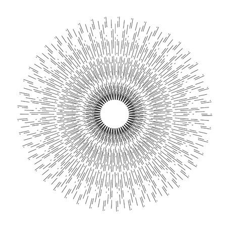 Dibujo lineal de los rayos del sol. Los rayos de luz de la explosión.