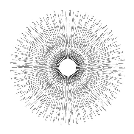 Lineaire tekening van stralen van de zon. Lichtstralen van barsten.