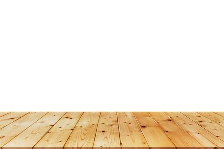白い背景の上の木のテーブル