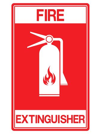 Emergency fire extinguisher sign, white fire fighting equipment icon on a red square background, vector illustration