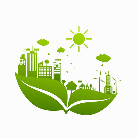 World Green ECO City Stock Illustratie