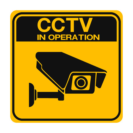 Video surveillance sign. CCTV Camera. Black vector isolated Ilustrace