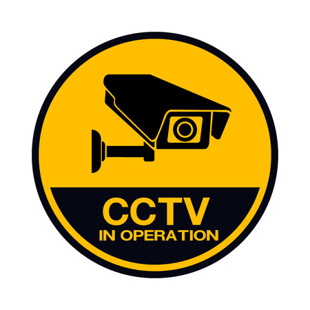 Video surveillance sign. CCTV Camera. Black vector isolated Vettoriali