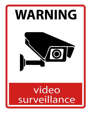 Videobewaking teken. Beveiligingscamera. Zwarte vector geïsoleerd