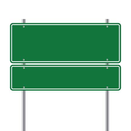sign road green Blank  vector illustration. Vectores